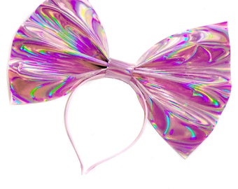 Giant Holographic Headbow ~ Pink (Made to Order)