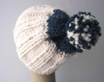 Hand Knitted Classic Chunky Pom Pom beanie Ski Hat in White Navy / Custom Knit Hat / Contrast Knit Pom Pom Beanie Hat