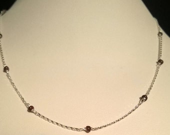 Ruby Station Necklace with Sterling Silver Chain