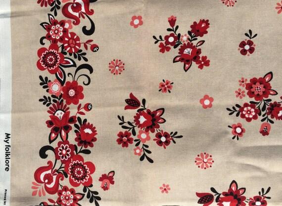 Lecien Folklore Floral Border print tan FQ or more