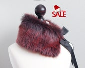 Christmas SALE 10% OFF Fur collar in Darkly Red. Winter neck warmer. Fur scarf.