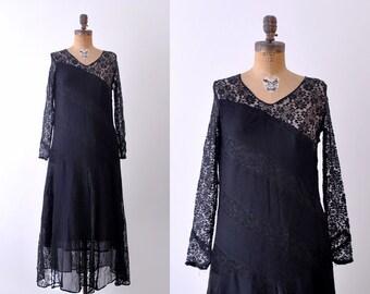 1920's black lace dress. diagonal crepe striped. 20's evening dress. small. xs