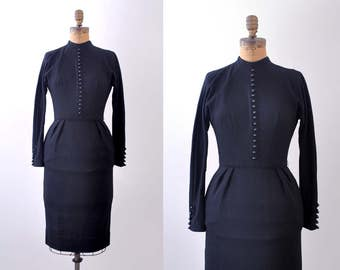 1950 vintage dress. black. 50's wool wiggle dress. xs. buttons. long sleeves.