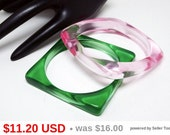 Two Jelly Lucite Bangle Bracelets - Translucent  Green & Pink Plastic Square  - Translucent Plastic Jewelry - Vintage Retro MOD 1960s 1970s
