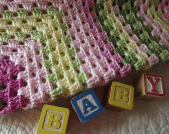 Crocheted Classic Style Granny Square Baby Blanket Pinks yellow and Greens
