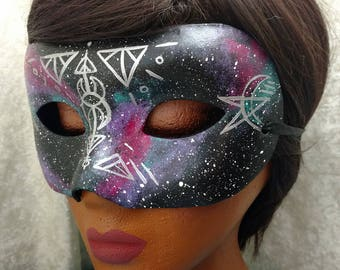 Galaxy with Silver Sacred Geometry Mask with Rounded Ends