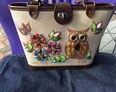 Enid Collins Purse Lookin Pretty Jeweled Owl and Floral Design on Canvas Sides with Wood Bottom Leather Trim Collectible Purse Owl Purse