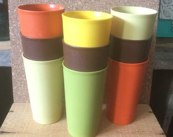 Vintage 70s Tupperware, NINE 12 oz. Tumblers, Great for Children, Outside, Camping, Assorted Colors