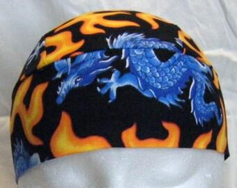 Blue Dragon Skull Cap, Chemo Cap, Surgical Cap, Orange Flames, Handmade, Alopecia, Hats, Head Wrap, Motorcycle, Helmet Liner, Hair Loss