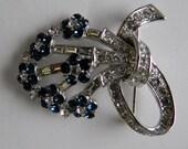 Jacqueline Bouvier Kennedy JBK Camrose & Kross Swarovske Crystal Brooch Pin Blue