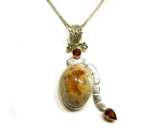 Sterling Silver Garnet Mexican Opal Pendant Natural Cantera Opal 20 Carats Rainbow Gemstone Necklace Gift for Her Gift Idea Under 100