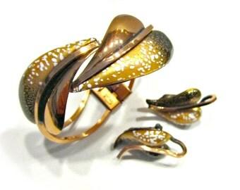 Vintage Renoir Matisse Enamel Set Bracelet Earring Pretzel Splatter Copper Clamp Cuff Clip Earrings Gift for Her Collector Designer Jewelry