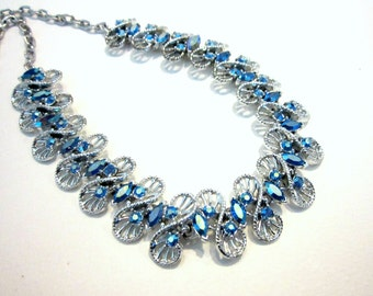 """Vintage Blue Necklace Signed Dodds Rhinestone Silver Long 17"""" to 25"""" Adjustable Gift for Her Under 50 Sparkling Blue Wedding Bridal Jewelry"""