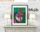 50% Off Today- CAT Folk art prints Poster of Painting Modern Abstract (Hg273)
