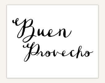 Buen Provecho print, Spanish Quote Typography Art Print, dining room decor