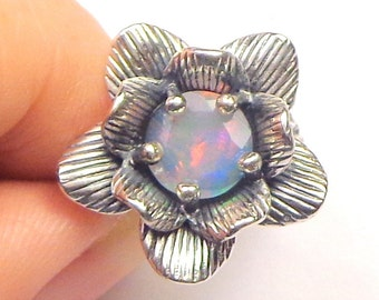 Adjustable, Sterling Silver, Flower Design, Ethiopian Welo Opal Ring, Pastel Color Play, Pink, Blue, Green, Lavender Color Play Opal
