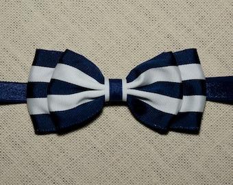 Navy & White Striped Bow Headband/ Nautical Headband/ Big Bow Headband/ Navy Baby Headband/ Navy Bow Headband/ Baby Hair Accessories/ Girls