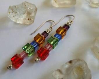 Crystal Rainbow Cubed  Swarovski Crystal Modern Chandelier Drop Earrings