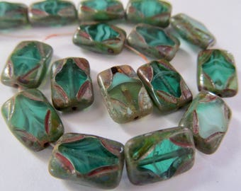 10 Czech Glass Bead in Opaque Pale Yellow/Green Diamond Center with Picasso Rectangle 8.5x12mm