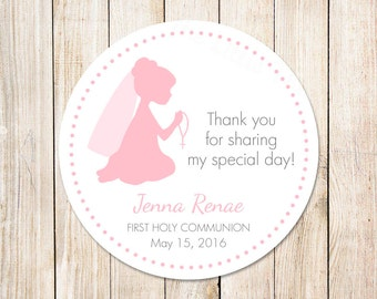 PRINTABLE first holy communion tags for girls . personalized favor tags . gift tags . 1st communion . color choices . You Print