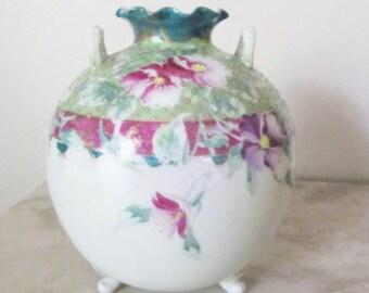Antique vase ~ floral vase ~ Moriage vase ~ Art Nouveau ~ footed vase ~ hand painted handpainted ~ teal vase fuchsia vase pink ~ 1910s vase