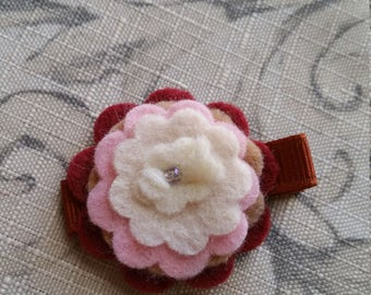 Red Roses Felt Flower Hair Clip With Button / Non slip / Ready To Ship