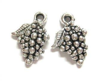 75% OFF- 20pcs Silver Grape Charms - Metal Grape Beads - Fruit Charms - Food Charm 094
