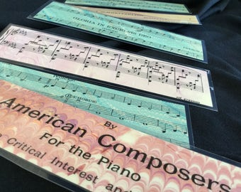 Antique Sheet Music Bookmark Set - Hand-marbled Bookmarks Piano Music Teacher Gift