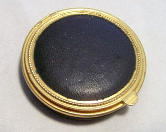 Art Deco Black Faux Leather Round Compact Gold Tone Never Used 1016DGZ