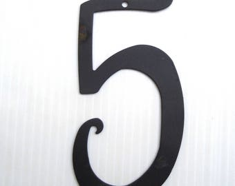 House Number 5 Antique Style Black Powder Coated Metal House Number 6 1/8 inches High New Old Stock
