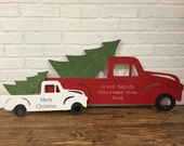 Wood Custom Name or Merry Christmas Christmas Tree Truck Handpainted Cut Wall Art Sign Decor