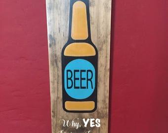 Beer, man cave. beer lover, wood sign
