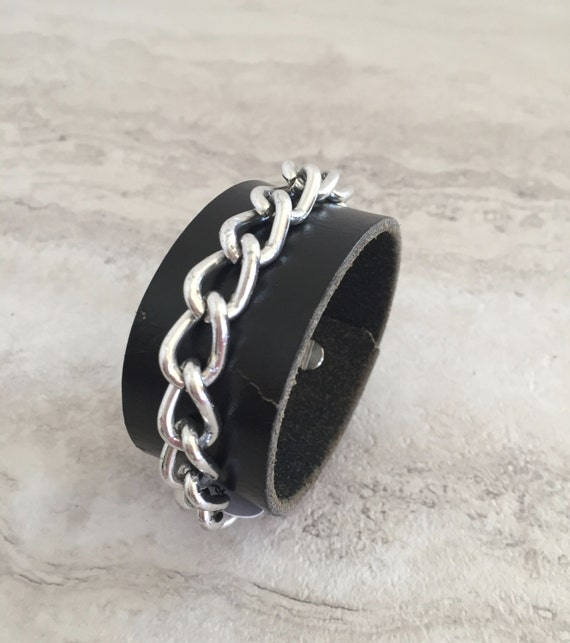 Handmade Women's Black Leather Cuff with Silver Chain