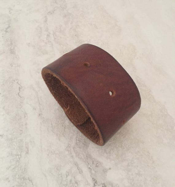 Handmade Brown Leather Bracelet, Men's Leather Cuff (size 6.75 inches)