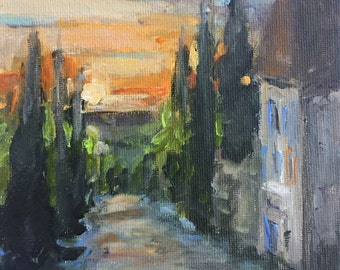 "Sunset in Provence small 6""x6"" original square acrylic painting on canvas panel"