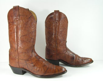 vintage cowboy boots women's 8.5 M B brown dan post western genuine leather cowgirl