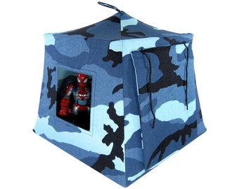Toy Pop Up Tent, Sleeping Bags, blue & black camouflage print fabric