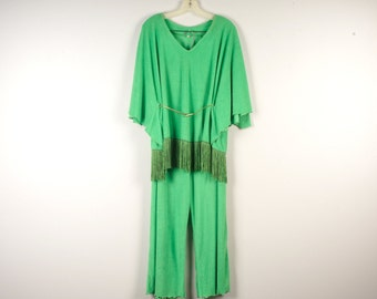 Lime Green Poncho Pant Suit Large 16 60s 70s Fringed Boho Top and Terry Cloth Slacks Trousers Leisure Wear Womens Loungewear Set Pantsuit