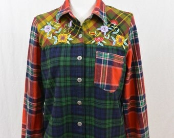 Vintage Flannel Shirt, Size Small, Mixed Print, 90's Clothing, Unique, Embroidered Flowers, My So Called Life, Tumblr Clothing