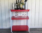 """Mid Century Kitchen Cart - Bar Cart - Tea Cart - Serving Cart  """"Red & White"""""""
