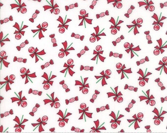 Moda Sugar Plum Christmas Fabric - Red & White Christmas Fabric - Candy Quilting Fabric By The 1/2 Yard