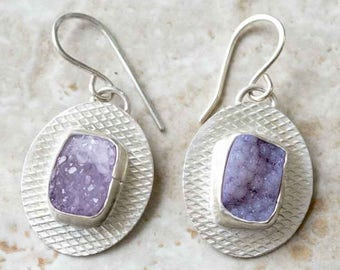Purple Drusy Earrings in Sterling Silver Handcrafted