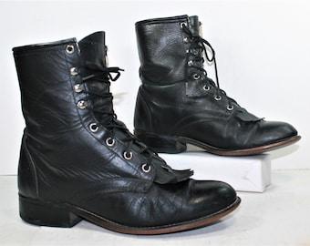 Vintage grunge granny combat barn boot riding black laredo cowboy pixie lace up womens 8.5 M B