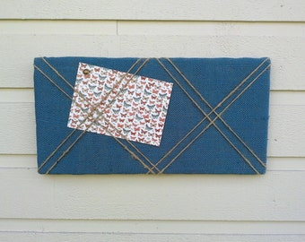 Bulletin Board in Navy Blue Burlap accented with natural jute twine crossed detailing for a Nautical styled decor, office, den or cabin