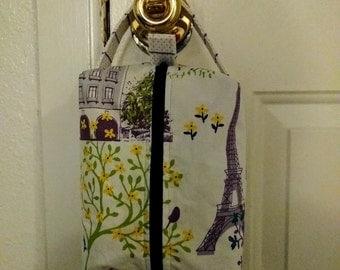 Light purple Paris zippered bag, sock knitting, crochet project bag, lined, zipper pouch, boxy pouch,