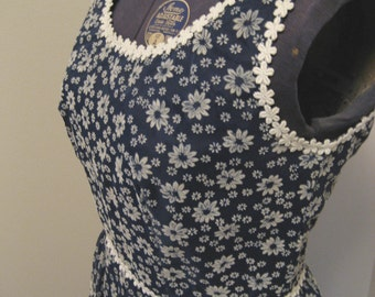 Vintage late 60s Lorrie Deb Sleeveless Maxi Dress Hippie Boho Prairie Sundress Tiered Navy Floral Size 9 10 Small