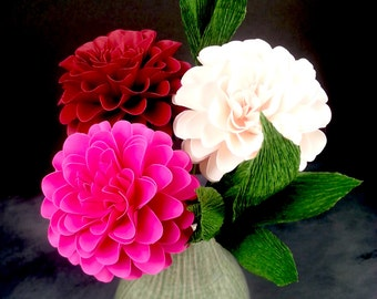 The  Full Bloom Dahlia Handmade Paper Flower  - set of 3 flowers  - Stems Included -  Custom order available