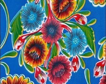 Large Round Oilcloth Tablecloth Bloom Royal Blue