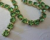 6mm Green Rhinestone Chain - Brass Setting - Peridot Green Czech Crystals - Large Crystal Size 29SS