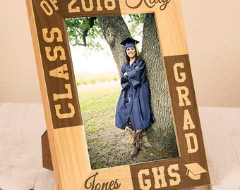 Personalized Graduation Frame-Graduation Gift-Class of 2017-Wood Engraved-Dream & Achieve-Graduation-Color Choice